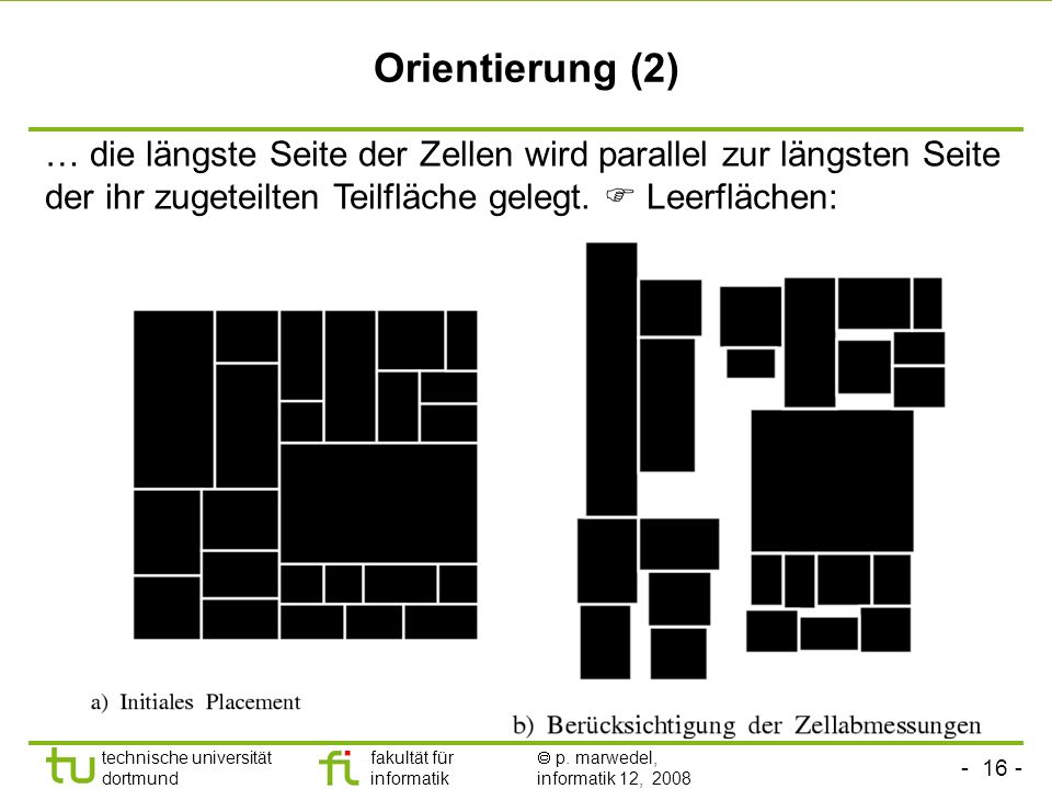 Orientierung (2) … die längste Seite der Zellen wird parallel zur längsten Seite der ihr zugeteilten Teilfläche gelegt.
