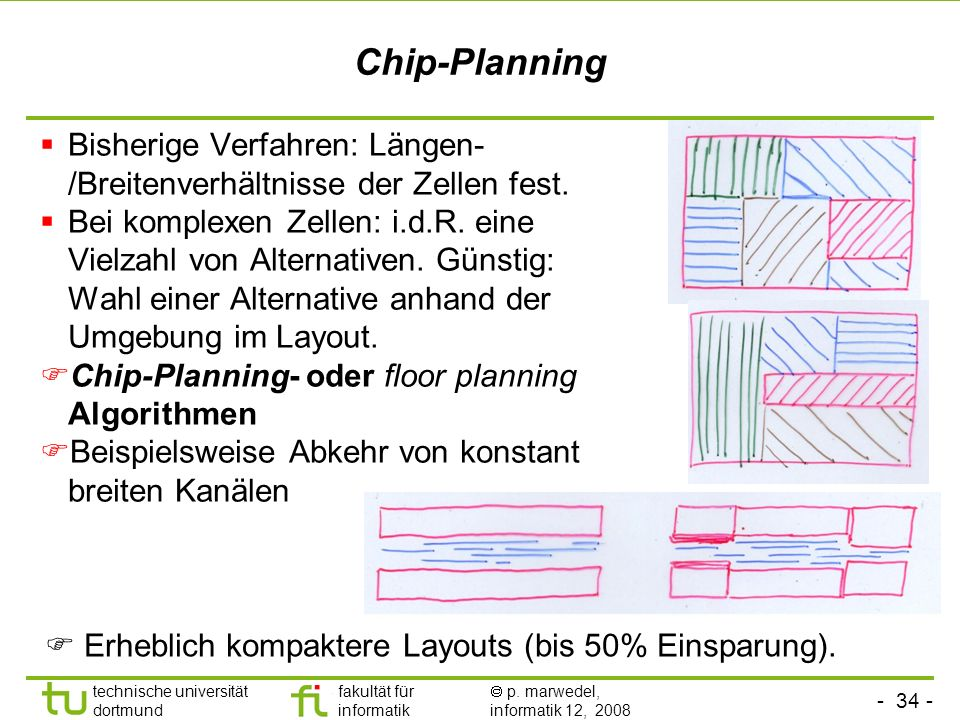 Chip-PlanningBisherige Verfahren: Längen-/Breitenverhältnisse der Zellen fest.