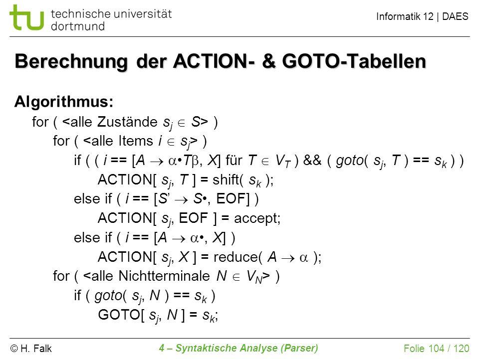 Berechnung der ACTION- & GOTO-Tabellen