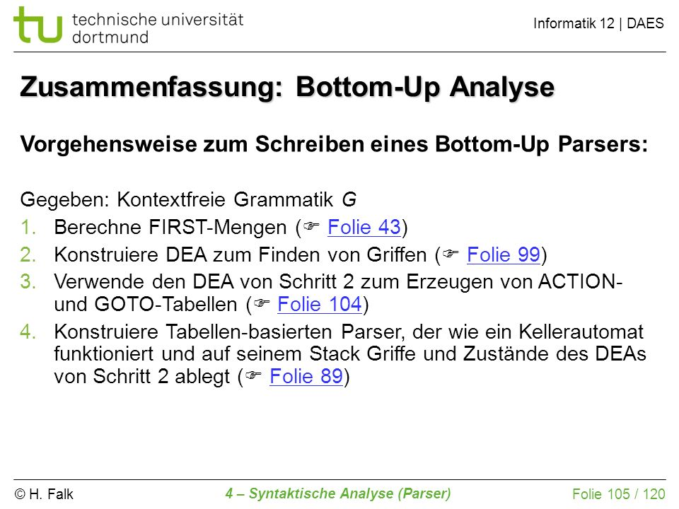 Zusammenfassung: Bottom-Up Analyse