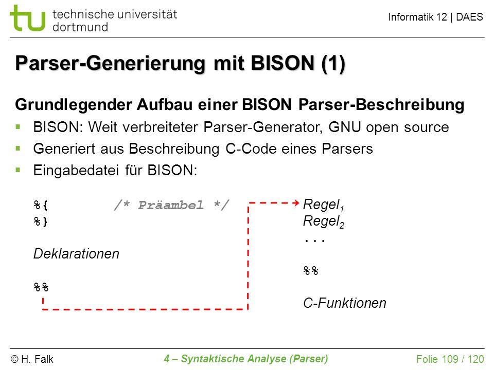 Parser-Generierung mit BISON (1)
