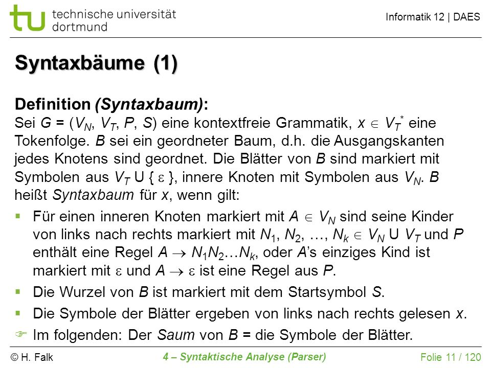 Syntaxbäume (1) Definition (Syntaxbaum):