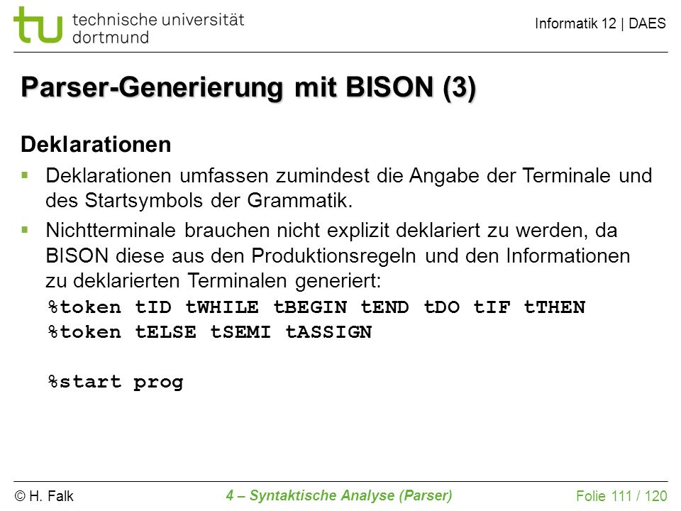 Parser-Generierung mit BISON (3)