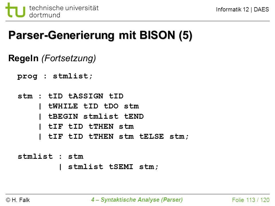 Parser-Generierung mit BISON (5)