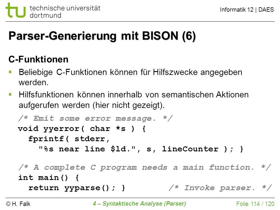Parser-Generierung mit BISON (6)