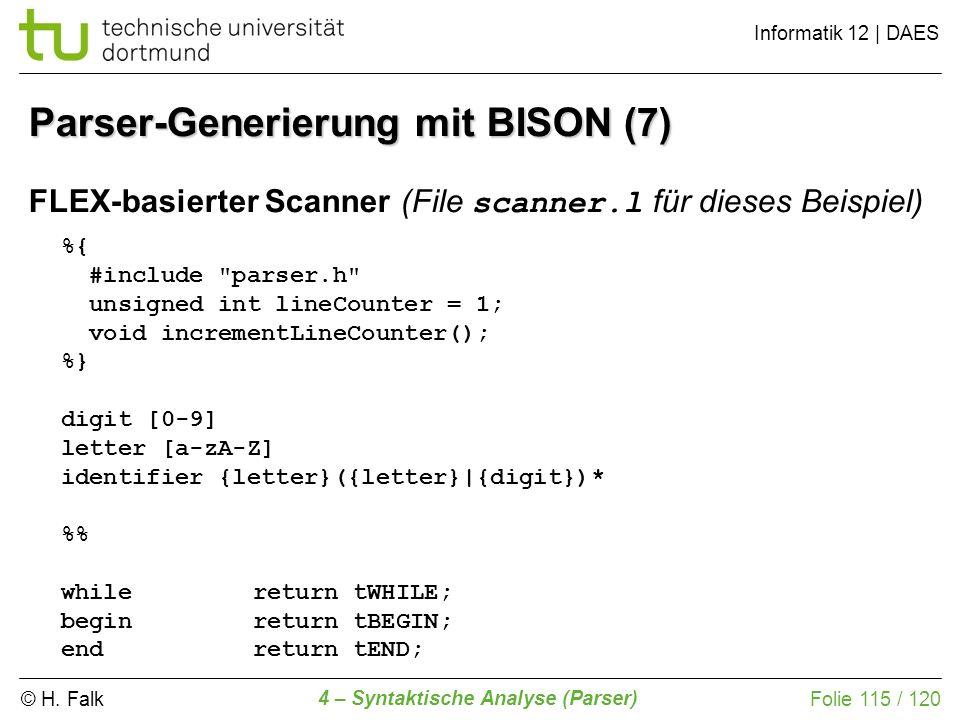 Parser-Generierung mit BISON (7)