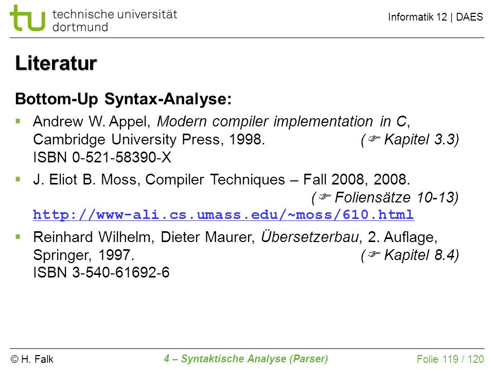 Literatur Bottom-Up Syntax-Analyse: