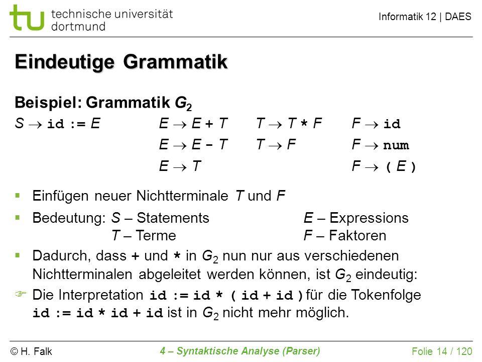 Eindeutige Grammatik Beispiel: Grammatik G2