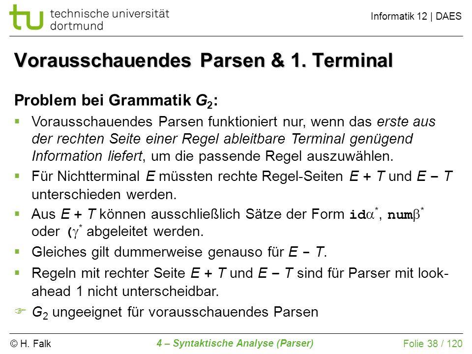 Vorausschauendes Parsen & 1. Terminal