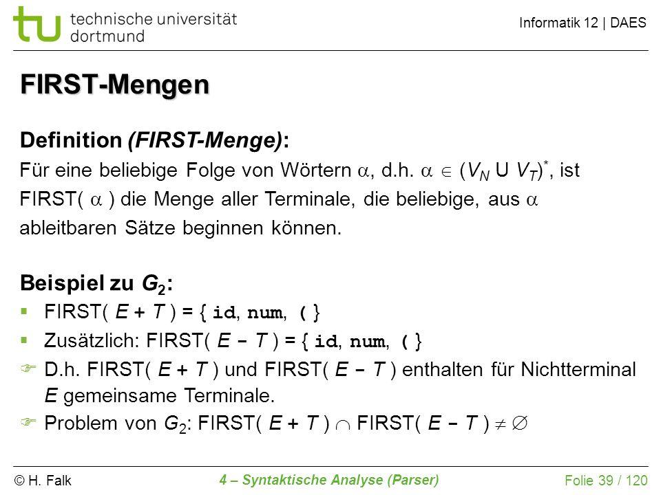 FIRST-Mengen Definition (FIRST-Menge): Beispiel zu G2: