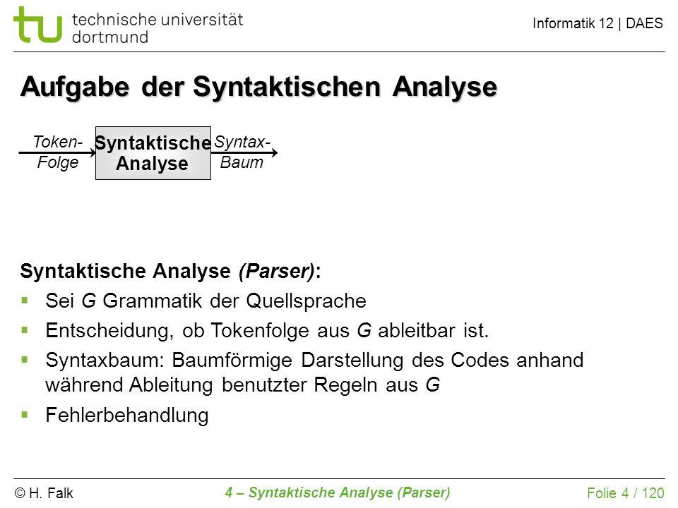 Aufgabe der Syntaktischen Analyse