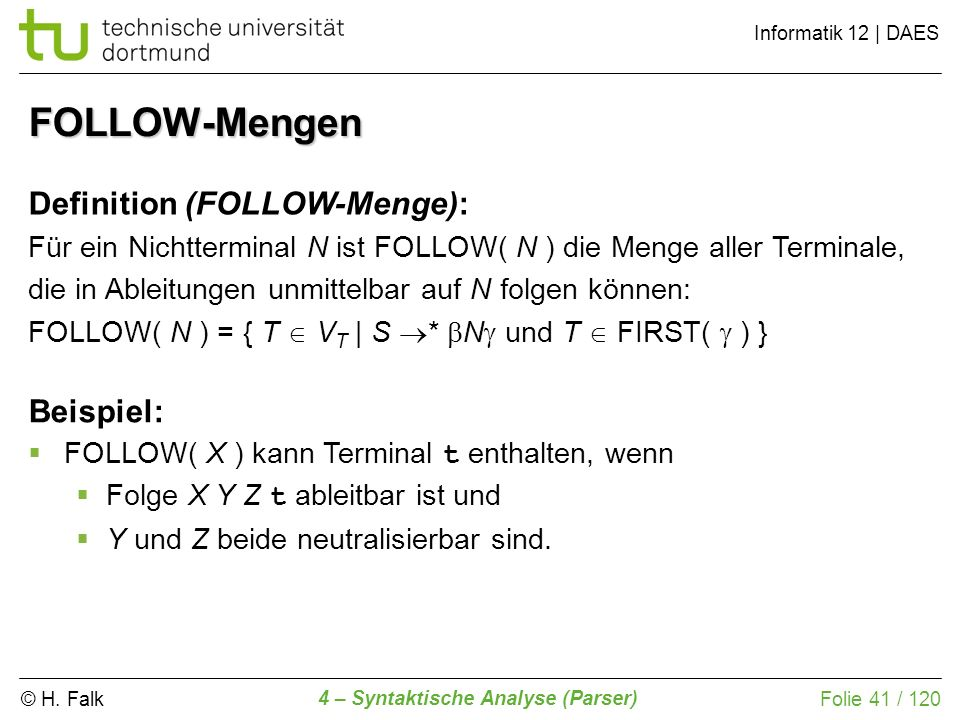 FOLLOW-Mengen Definition (FOLLOW-Menge): Beispiel: