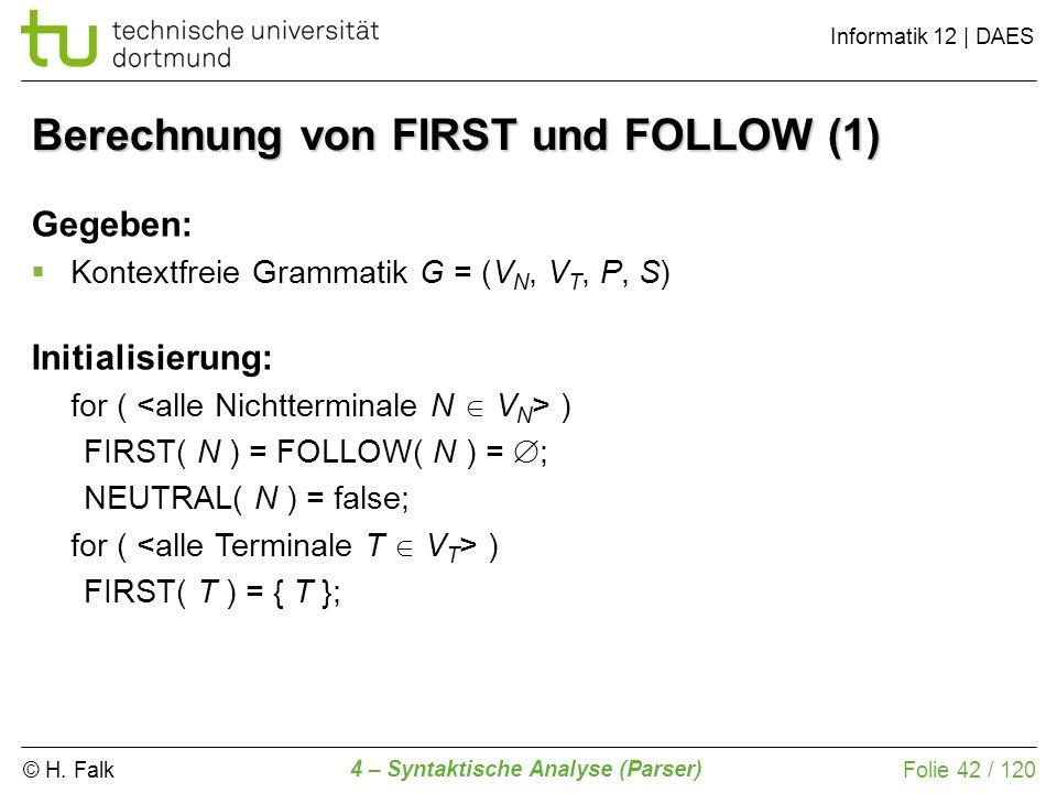 Berechnung von FIRST und FOLLOW (1)