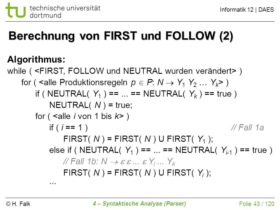 Berechnung von FIRST und FOLLOW (2)