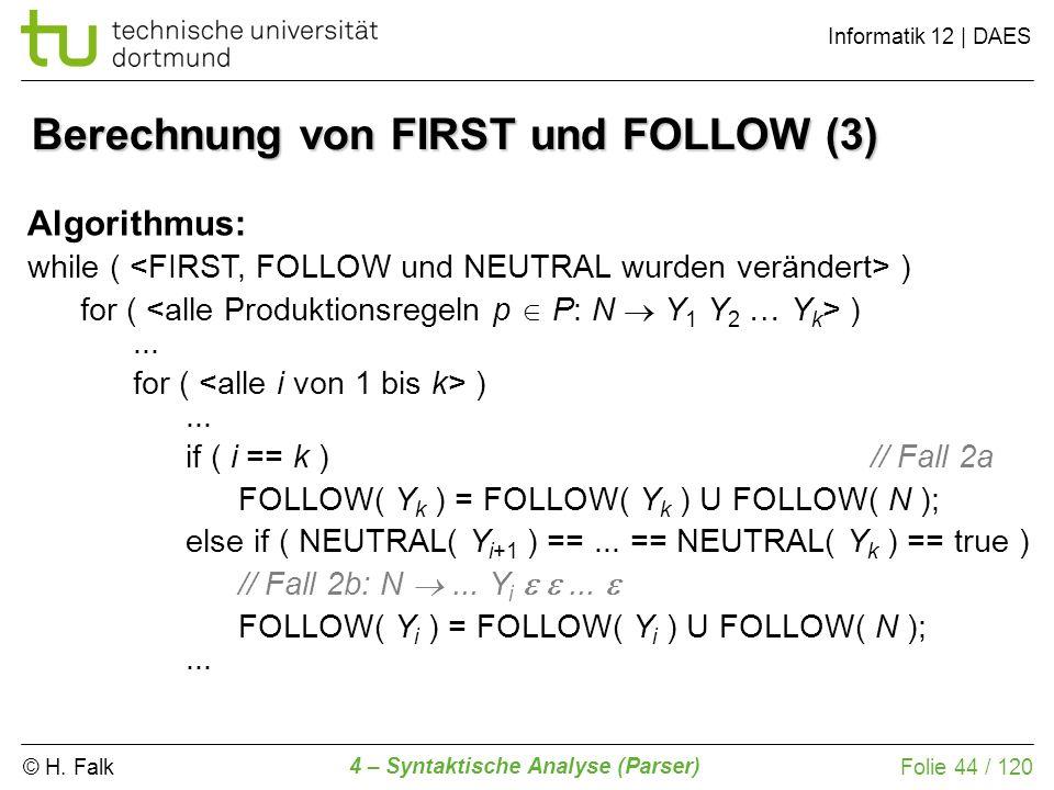 Berechnung von FIRST und FOLLOW (3)