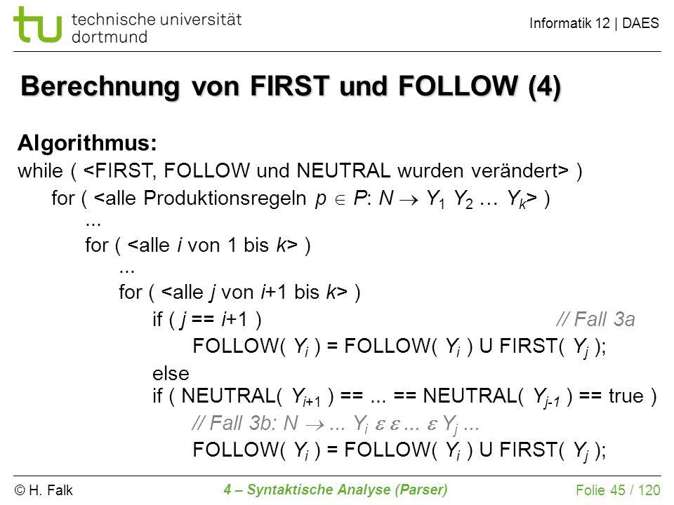 Berechnung von FIRST und FOLLOW (4)