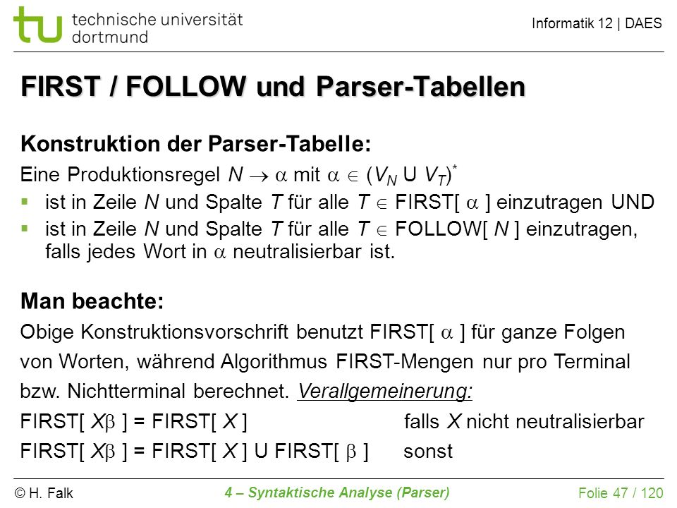 FIRST / FOLLOW und Parser-Tabellen