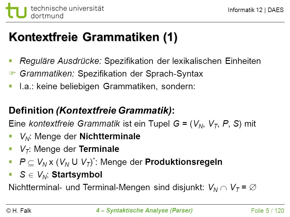 Kontextfreie Grammatiken (1)