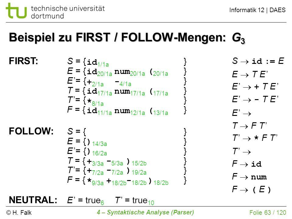Beispiel zu FIRST / FOLLOW-Mengen: G3