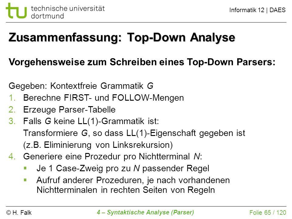 Zusammenfassung: Top-Down Analyse