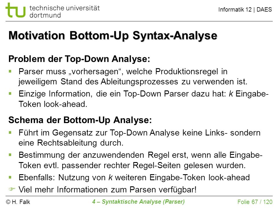 Motivation Bottom-Up Syntax-Analyse