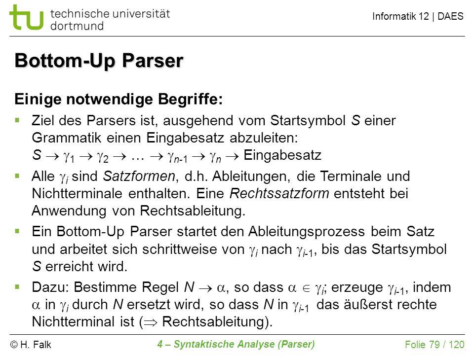 Bottom-Up Parser Einige notwendige Begriffe:
