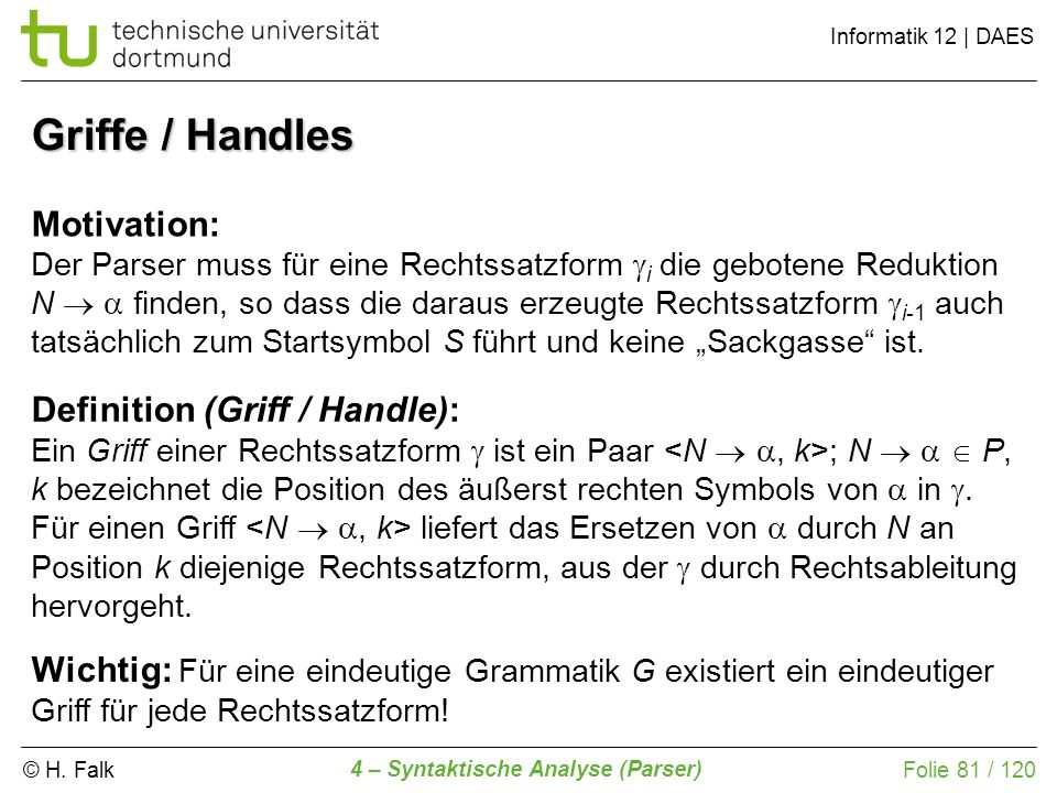 Griffe / Handles Motivation: Definition (Griff / Handle):