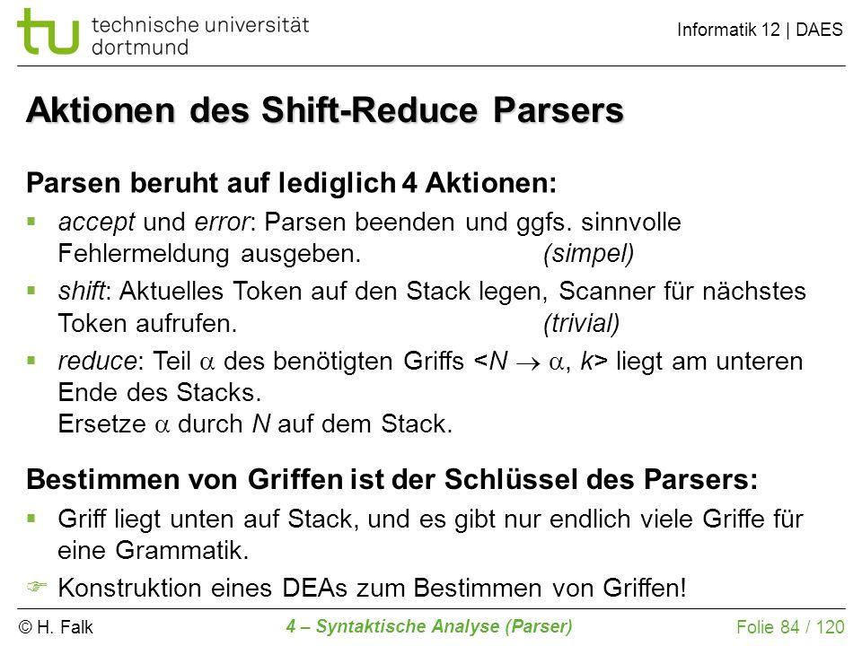 Aktionen des Shift-Reduce Parsers