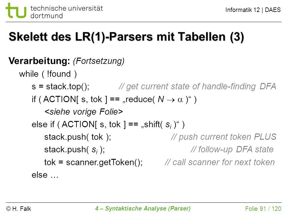 Skelett des LR(1)-Parsers mit Tabellen (3)