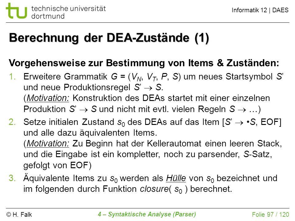 Berechnung der DEA-Zustände (1)