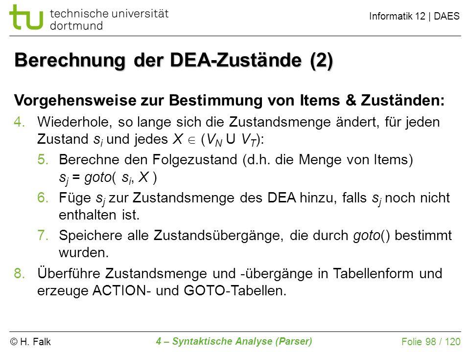 Berechnung der DEA-Zustände (2)