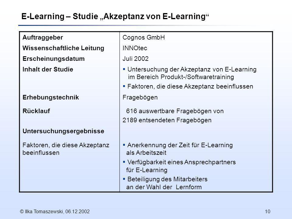 "E-Learning – Studie ""Akzeptanz von E-Learning"