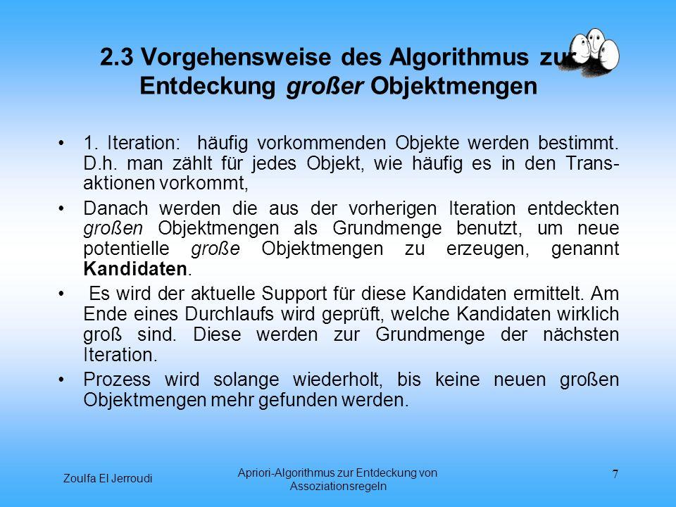 2.3 Vorgehensweise des Algorithmus zur Entdeckung großer Objektmengen