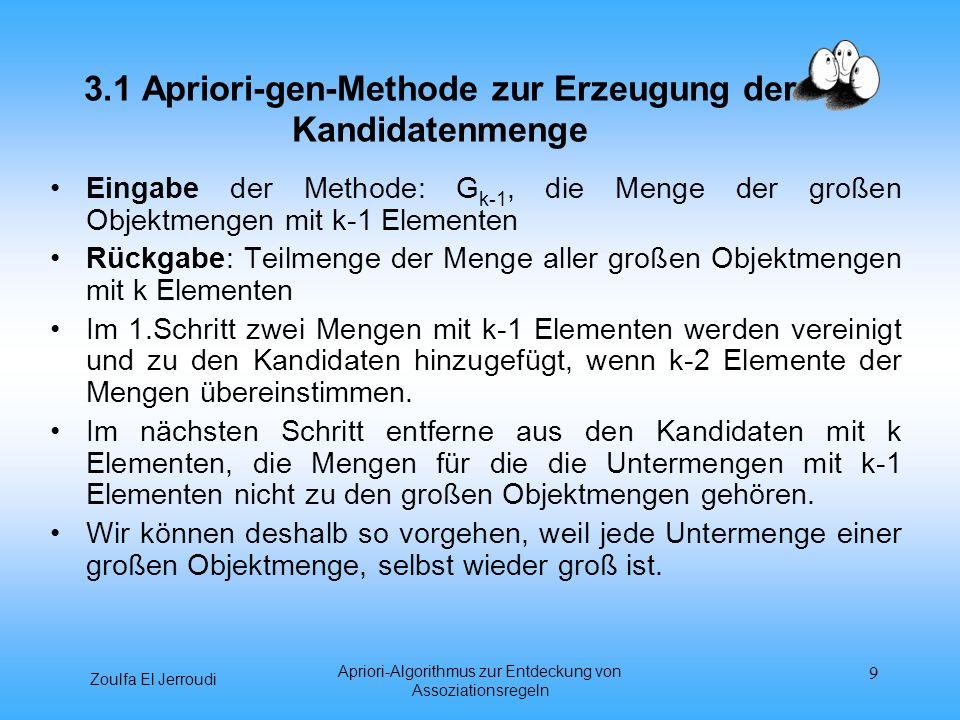 3.1 Apriori-gen-Methode zur Erzeugung der Kandidatenmenge
