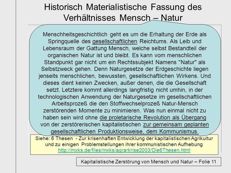 Historisch Materialistische Fassung des Verhältnisses Mensch – Natur