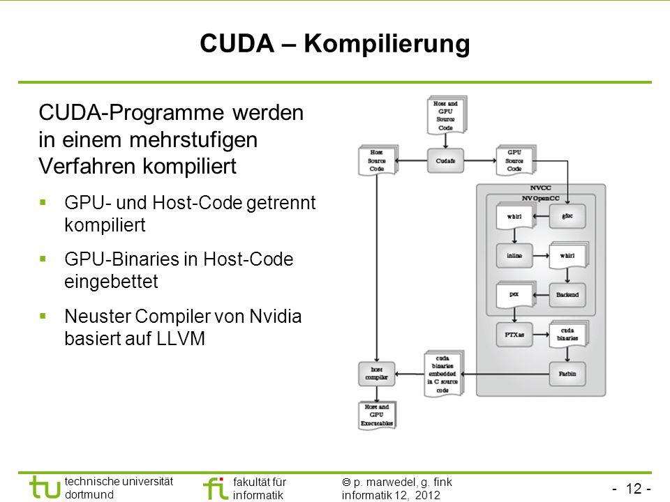 CUDA – Kompilierung CUDA-Programme werden in einem mehrstufigen Verfahren kompiliert. GPU- und Host-Code getrennt kompiliert.