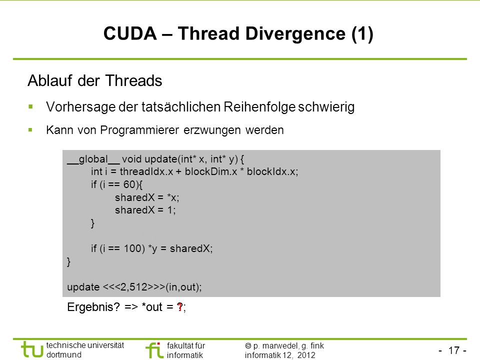 CUDA – Thread Divergence (1)