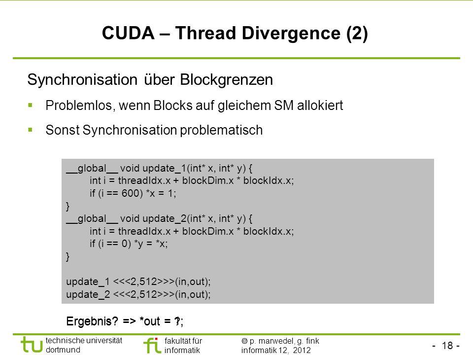 CUDA – Thread Divergence (2)