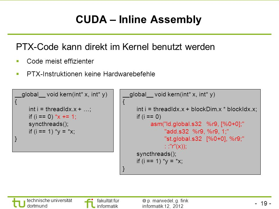 CUDA – Inline Assembly PTX-Code kann direkt im Kernel benutzt werden