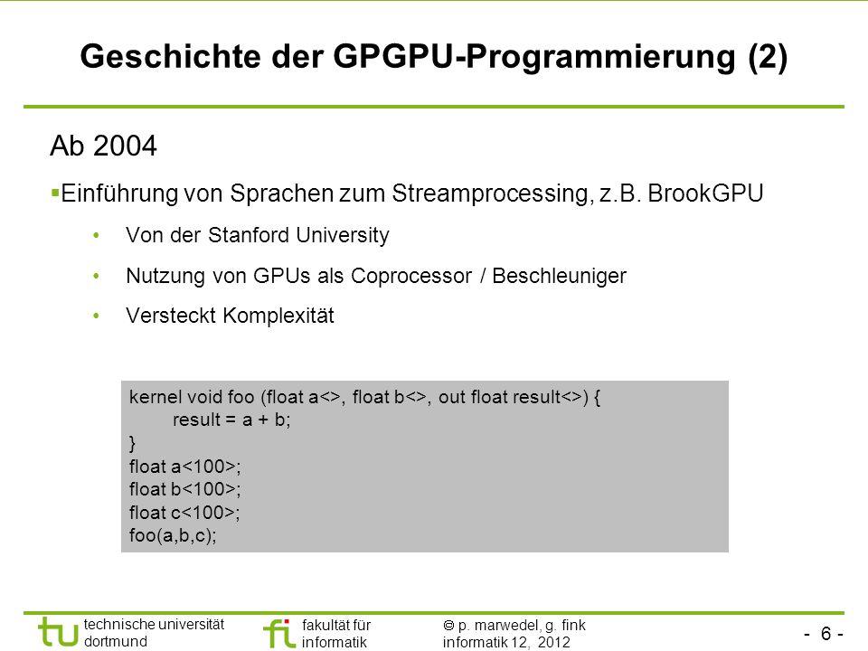 Geschichte der GPGPU-Programmierung (2)