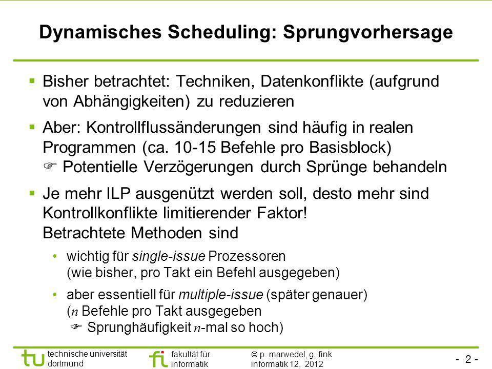 Dynamisches Scheduling: Sprungvorhersage