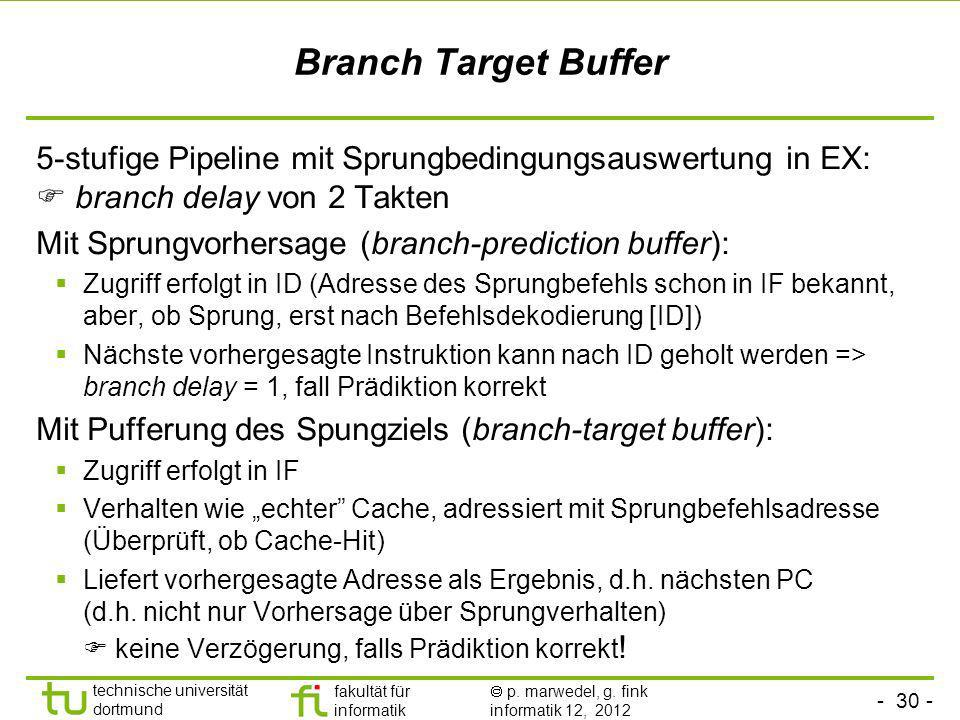 Branch Target Buffer 5-stufige Pipeline mit Sprungbedingungsauswertung in EX:  branch delay von 2 Takten.