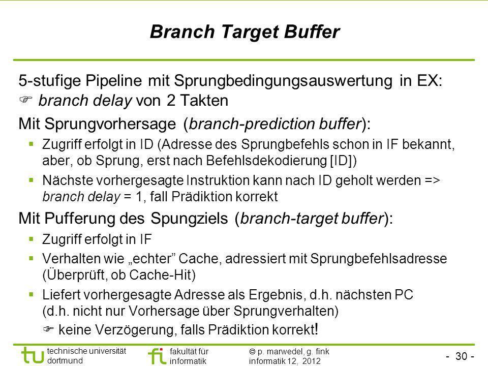 Branch Target Buffer5-stufige Pipeline mit Sprungbedingungsauswertung in EX:  branch delay von 2 Takten.