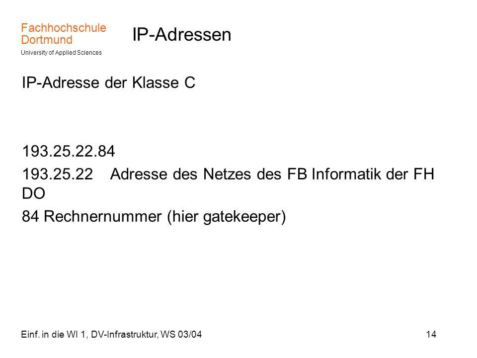 IP-Adressen IP-Adresse der Klasse C 193.25.22.84