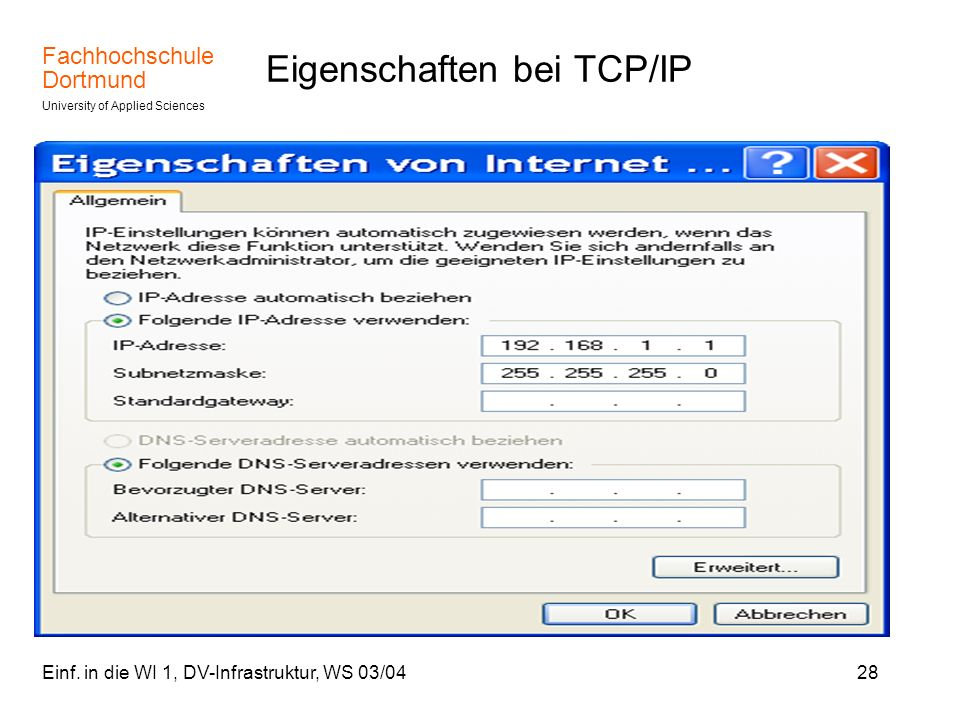 Eigenschaften bei TCP/IP