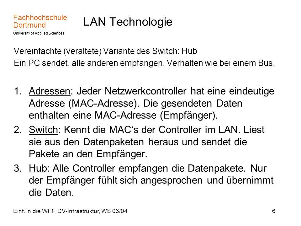 LAN Technologie Vereinfachte (veraltete) Variante des Switch: Hub. Ein PC sendet, alle anderen empfangen. Verhalten wie bei einem Bus.