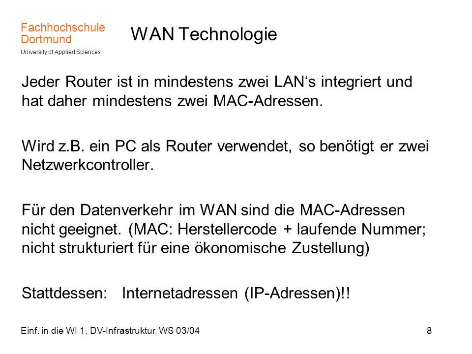 WAN Technologie Jeder Router ist in mindestens zwei LAN's integriert und hat daher mindestens zwei MAC-Adressen.