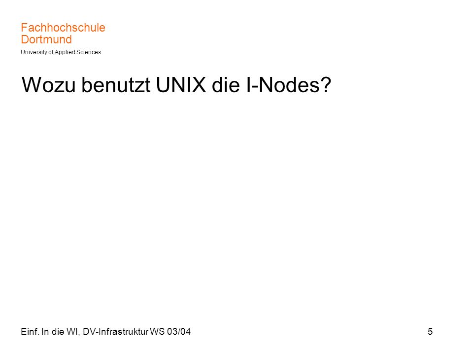 Wozu benutzt UNIX die I-Nodes