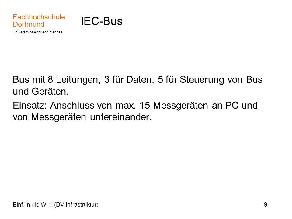 IEC-Bus Bus mit 8 Leitungen, 3 für Daten, 5 für Steuerung von Bus und Geräten.