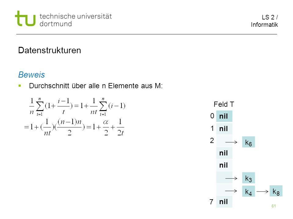 Datenstrukturen Beweis nil k Durchschnitt über alle n Elemente aus M: